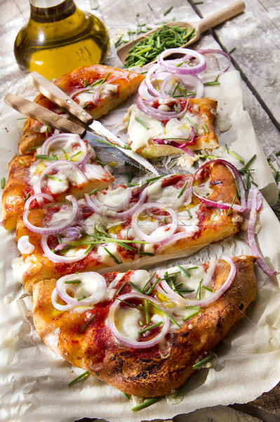 Pizza ui vers gebakken mozzarella Stockfoto © Fotografiche