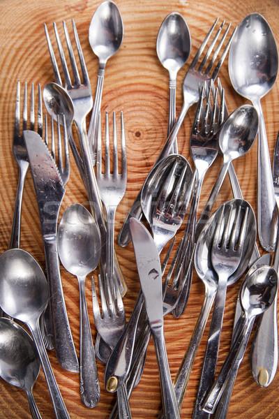 Establecer cubiertos acero alimentos madera cocina Foto stock © Fotografiche