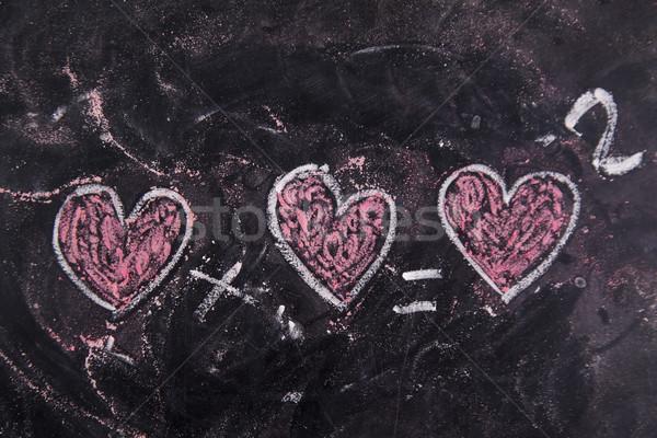Szeretet kréta iskolatábla boldog felirat piros Stock fotó © Fotografiche