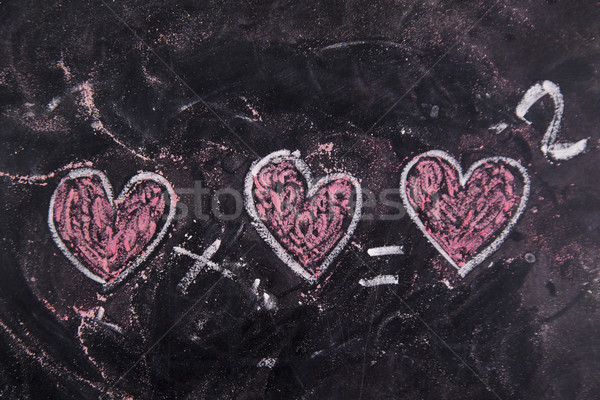 Liefde krijt Blackboard gelukkig teken Rood Stockfoto © Fotografiche