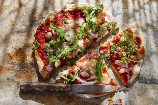 Pizza volkoren meel diner Rood pasta Stockfoto © Fotografiche
