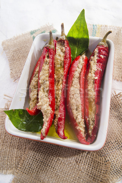 Fűszeres chili töltelék töltött mártás tonhal Stock fotó © Fotografiche