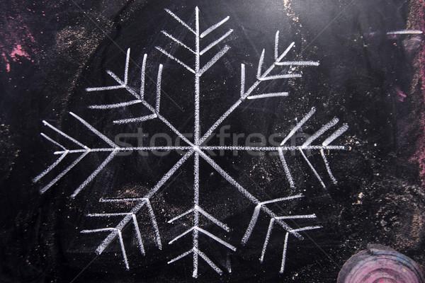 Symbole icône neige graphique craie tableau noir Photo stock © Fotografiche