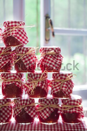 Stock photo: Small jars of tomato sauce