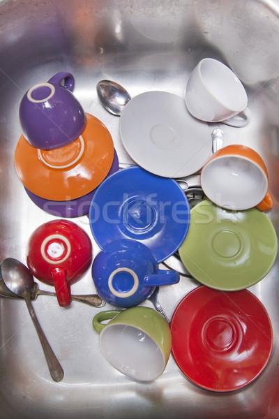 Tasses de café laver dîner travaux cuisine nettoyage Photo stock © Fotografiche