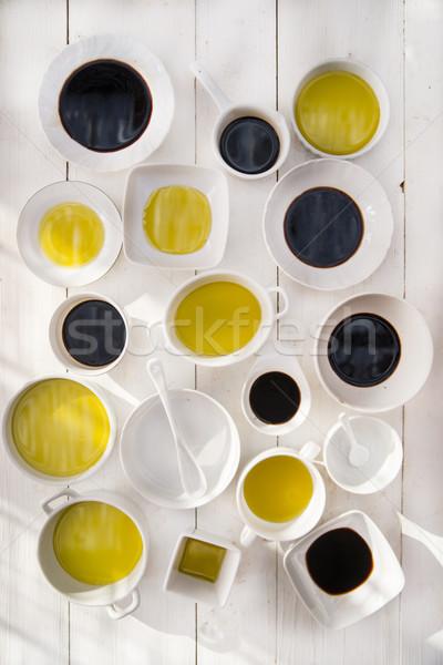 Petróleo vinagre presentación básico ingredientes cocina italiana Foto stock © Fotografiche