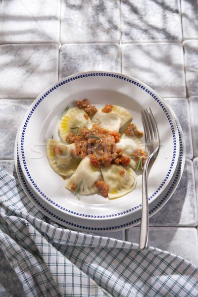 Toszkán hús mártás bemutató tipikus edény Stock fotó © Fotografiche