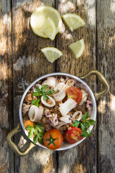 Farro with seafood Stock photo © Fotografiche