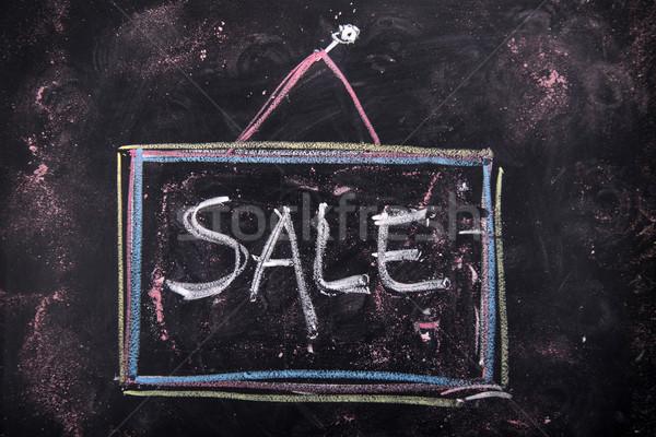 Sprzedaży podpisania graficzne kredy tablicy słowo Zdjęcia stock © Fotografiche