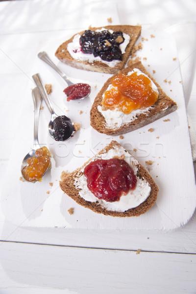 Reggeli kenyér lekvár olasz teljes kiőrlésű kenyér vaj Stock fotó © Fotografiche