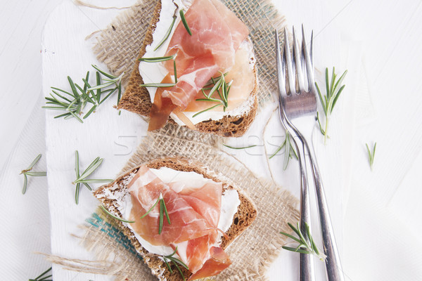 Stock photo: Bread, cheese and ham