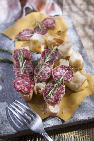 Focaccia and salami  Stock photo © Fotografiche