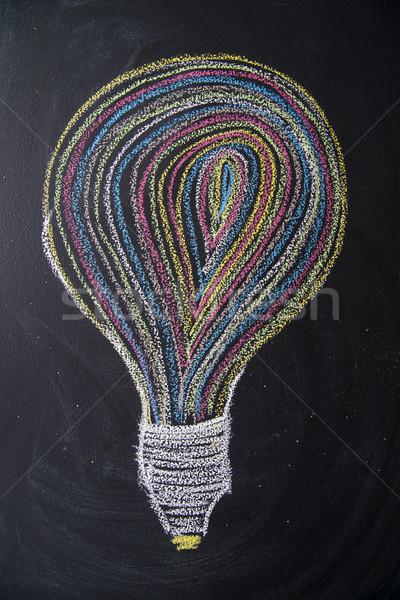 Veelkleurig idee grafische krijt Blackboard licht Stockfoto © Fotografiche