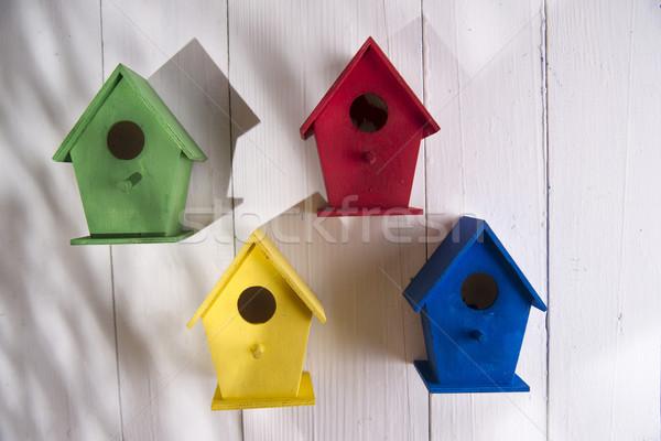 Maisons oiseaux faible coloré maisons abri Photo stock © Fotografiche
