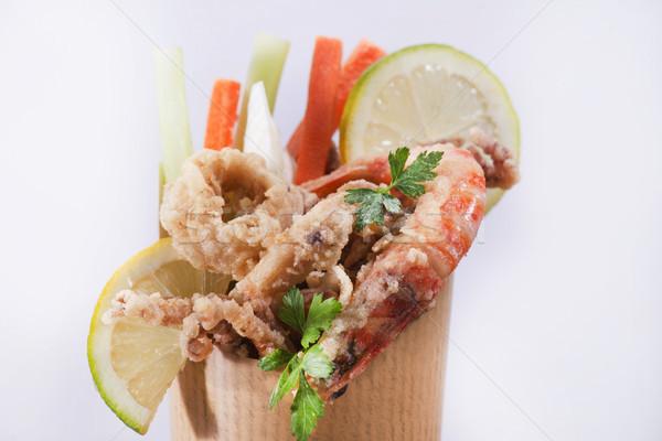 Zee kegel presentatie street food groenten Stockfoto © Fotografiche