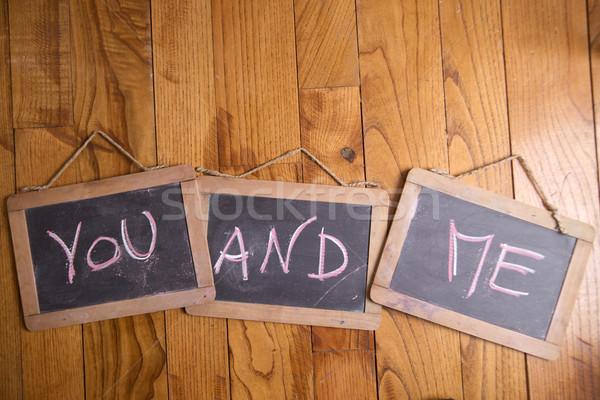 Bana grafik kelime yazılı tebeşir tahta Stok fotoğraf © Fotografiche