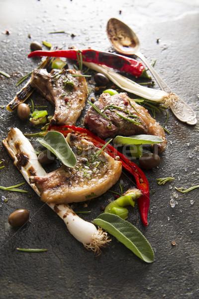Cordero cocido parrilla puerro rojo pimienta Foto stock © Fotografiche