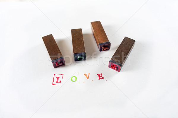 Yazılı sevmek küçük pulları renkli Stok fotoğraf © Fotografiche