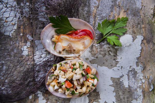 Rizottó meleg bemutató petrezselyem fokhagyma étel Stock fotó © Fotografiche