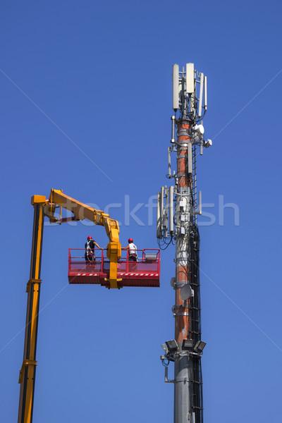 Karbantartás antenna távközlés irányítás kommunikáció technológia Stock fotó © Fotografiche