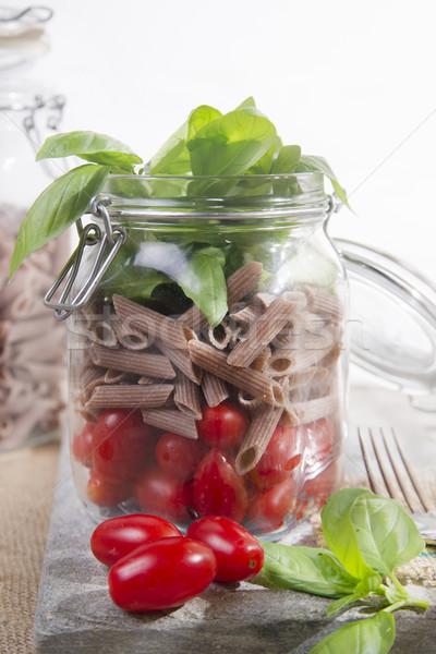 Pasta salsa de tomate albahaca vidrio jar ingredientes Foto stock © Fotografiche