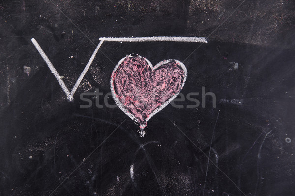 Liefde krijt Blackboard gelukkig hart teken Stockfoto © Fotografiche