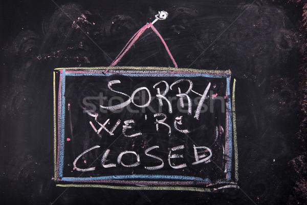 Siralmas zárva felirat befejezés bolt írott Stock fotó © Fotografiche