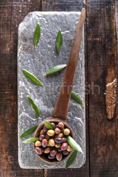 Karışık zeytin Toskana İtalya yağ kaşık Stok fotoğraf © Fotografiche