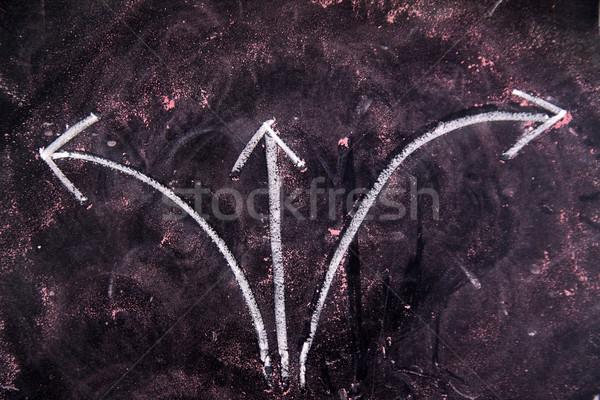 Richtung Kreide Tafel drei Pfeile Stock foto © Fotografiche