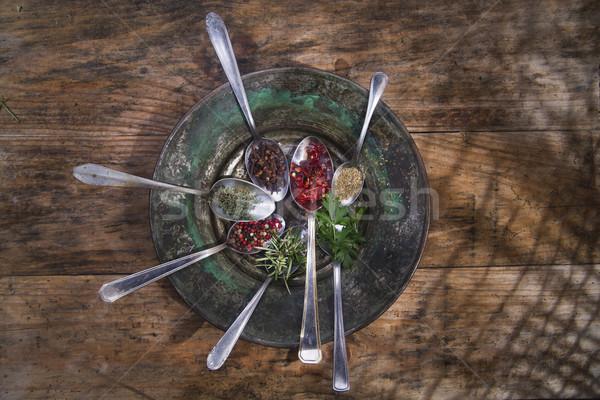 Fűszer konyha nemzetközi konyha kanál gyógynövények Stock fotó © Fotografiche