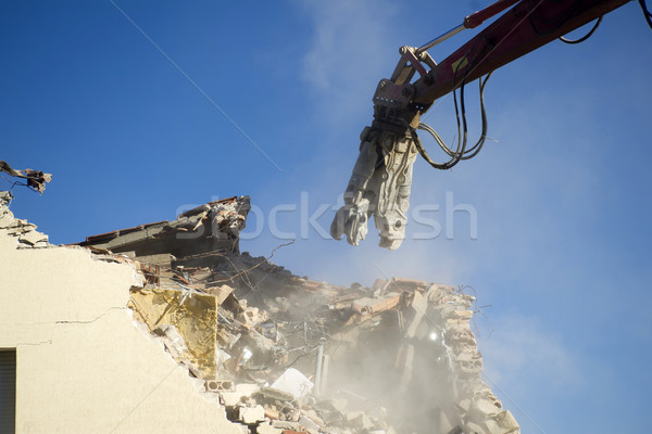 The controlled demolition of a house Stock photo © Fotografiche