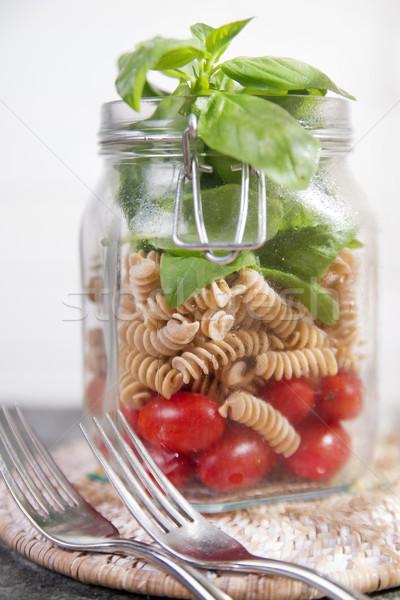 パスタ トマトソース バジル ガラス jarファイル 材料 ストックフォト © Fotografiche