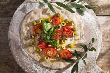 Pizza tomate tricolor mozzarella frescos alimentos Foto stock © Fotografiche