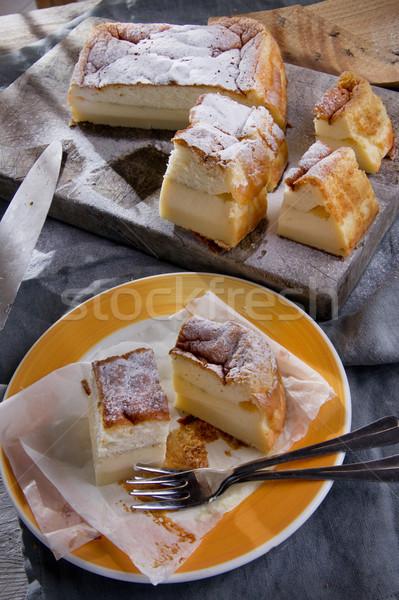 Kek puding vanilya gıda kutlama Stok fotoğraf © Fotografiche