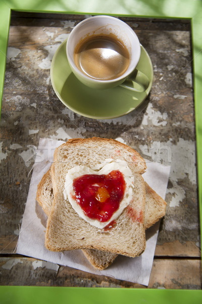 Italien déjeuner présentation café pain beurre Photo stock © Fotografiche