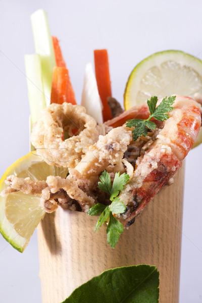 Frit mer cône présentation nourriture de rue légumes Photo stock © Fotografiche