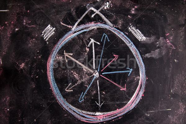 Réveil graphique craie tableau noir horloge dessin Photo stock © Fotografiche