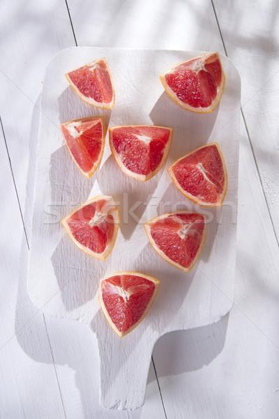 Foto stock: Fatias · vermelho · toranja · apresentação · laranja