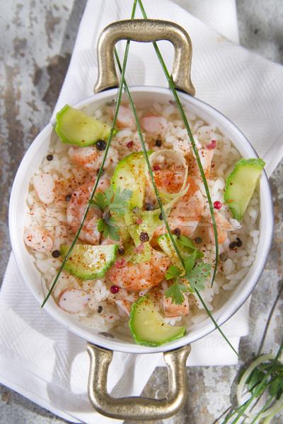Arroz camarão abobrinha segundo prato branco Foto stock © Fotografiche