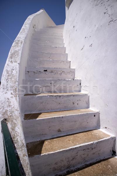 Branco escada alvenaria particular arquitetônico cor Foto stock © Fotografiche