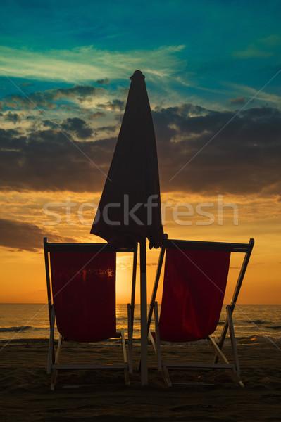 冬 海 椅子 ビーチ 日没 自然 ストックフォト © Fotografiche