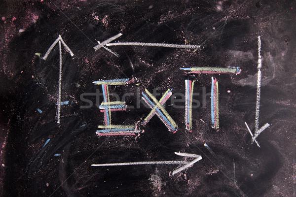 Uitgang icon krijt Blackboard symbool Stockfoto © Fotografiche