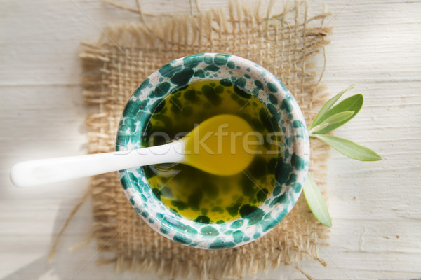 Small container with extra virgin olive oil  Stock photo © Fotografiche