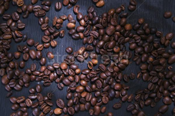 Stok fotoğraf: Kahve · çekirdekleri · tanıtım · tablo · siyah · doku · gıda