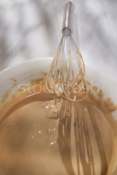 Látigo crema castaño preparación harina frutas Foto stock © Fotografiche