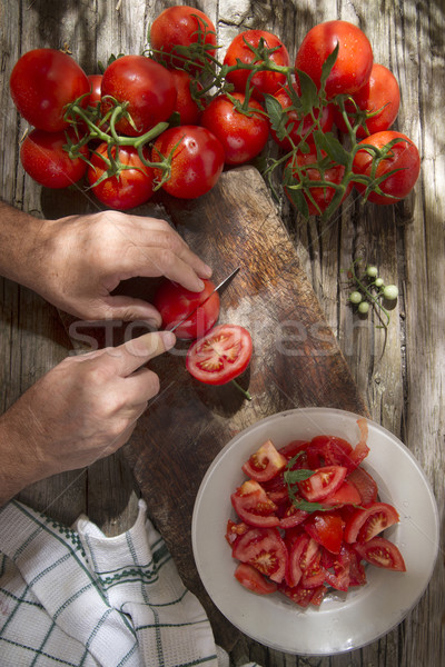 Red round smooth tomato Stock photo © Fotografiche