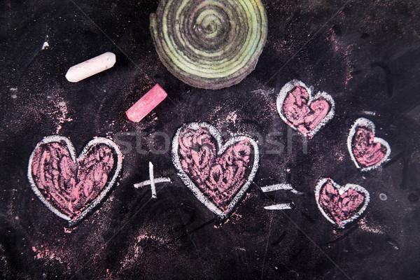 Amore gesso lavagna felice cuore segno Foto d'archivio © Fotografiche