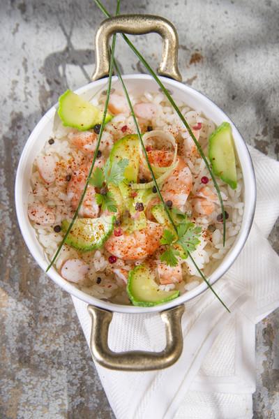 Rice with shrimp and zucchini Stock photo © Fotografiche