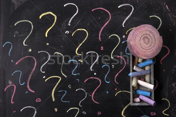 Vraagteken grafisch punt toepassing geschreven krijt Stockfoto © Fotografiche