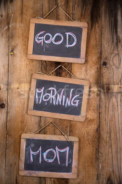 Bonjour maman graphique mot Bonjour écrit Photo stock © Fotografiche